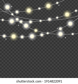 Realistic 3d Detailed Christmas Lights Strings on a Background Celebration Decor. illustration of Light String