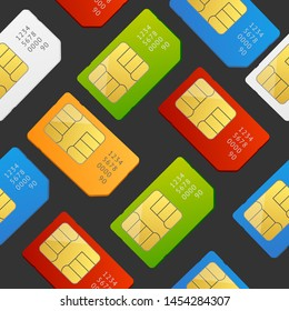 Realistic 3d Detailed Color Sim Card Seamless Pattern Background on a Dark Global Communication Technology Symbol. illustration of Telephone Simcards