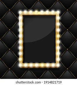 Realistic 3d Detailed Makeup Mirror on a Black Quilted Pattern Background with Gold Thread Luxury Expensive Style. illustration