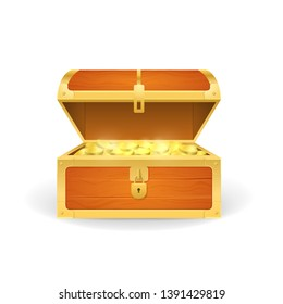 Realistic 3d Detailed Open Wooden Pirate Chest with Golden Coins Isolated on a White Background. illustration