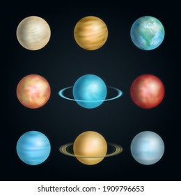Realistic 3d Detailed Solar System Planet Set on a Black Background Include of Earth, Saturn, Jupiter, Mercury and Venus. illustration