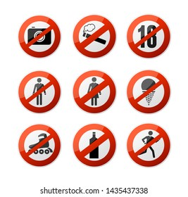 Realistic 3d Detailed Stop Signs Icons Set Forbidden, Warning, Restrict and Caution Elements Alcohol, Cigarette, Ice Cream, Run Ban. illustration