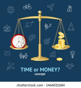 Realistic 3d Detailed Time or Money on Scales Concept Business Symbol Saving and Profit Balance Success Elements. illustration