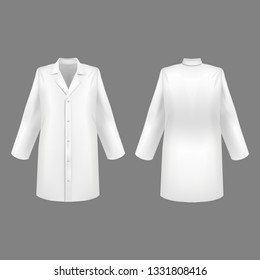 Realistic 3d Detailed White Blank Medical Lab Coat Set Empty Template Mockup Set on a Grey. illustration