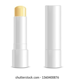 Realistic 3d Detailed White Blank Lip Balm Stick Template Mockup Set Female Cosmetic for Care. illustration of Lipstick
