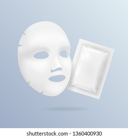 Realistic 3d Detailed White Blank Facial Mask and Pack Moisturizer Cosmetics Empty Template Mockup Set. illustration