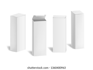 Realistic 3d Detailed White Blank Cardboard Cosmetic Boxes Template Mockup Set. illustration of Mock Up Box