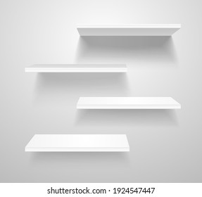 Realistic 3d Detailed White Blank Shelves on The Grey Wall Empty Template Mockup Set. illustration of Shelf