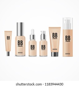 Realistic 3d Empty Template Bb Cream Package Set Beauty Product Makeup Beige Tone for of a Female Face. illustration of different creams tube