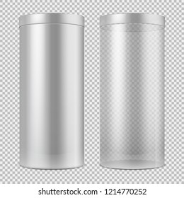 Realistic 3d empty transparent glass jar and and white can with lid. Package for food, cookies and gifts template isolated