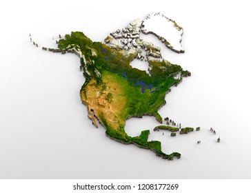 Realistic 3D Extruded Map of North America (North American Continent, including Central America)