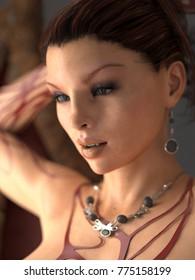 Realistic 3D Female Model Illustration Portrait with Jewlery