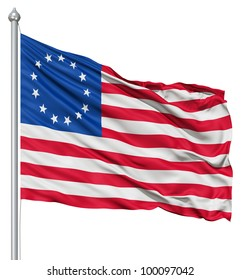 Realistic 3d flag of Betsy Ross fluttering in the wind.