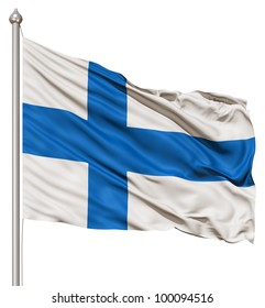 Realistic 3d flag of Finland fluttering in the wind.