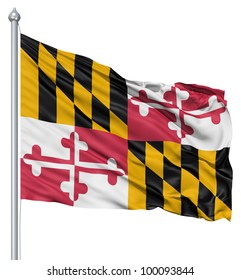 Realistic 3d flag of United States of America Maryland fluttering in the wind.