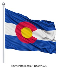 Realistic 3d flag of United States of America Colorado fluttering in the wind.