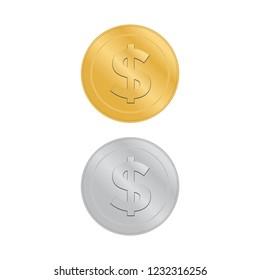 Realistic 3d gold dollar coin. Coin dollar money