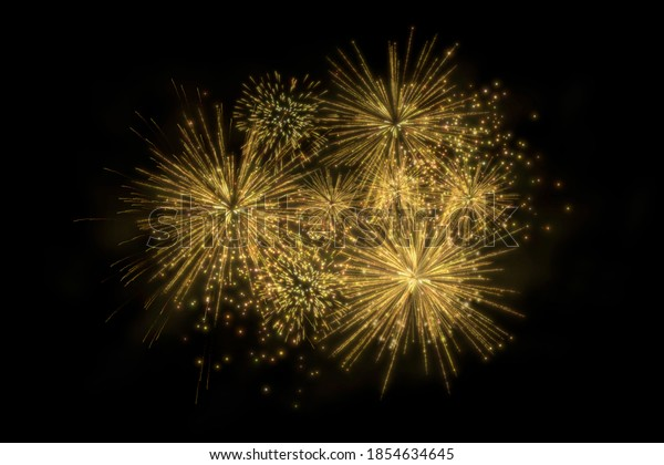 Realistic 3D illustration colorful gold luxury firework pyrotechnic night dark sky smoke isolated black background wallpaper use celebrate happy new year countdown festival anniversary birthday party
