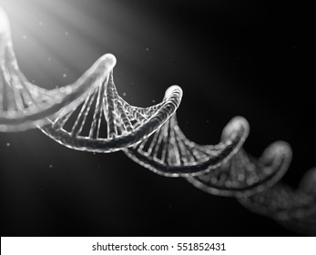 realistic 3D illustration of DNA cell on dark background.