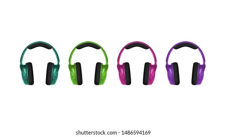 Realistic 3D illustration of four stylish trendy colored wireless headphone sets in a row on white background