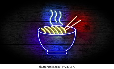 Realistic 3D illustration of Neon Noodle sign on grunge wood with copy space, food and drinks sign, fast food and health care concept. Chinese food sign. Restaurant neon sign.
