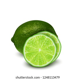 Realistic 3d  Illustration of sliced green lime fruit. Colourful citrus. Good for packaging design and ad.