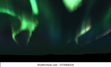 Realistic 3D illustration of spectacular Aurora Borealis landscape. Polar Light or Northern Light in the night sky. Beautiful starry sky on the background