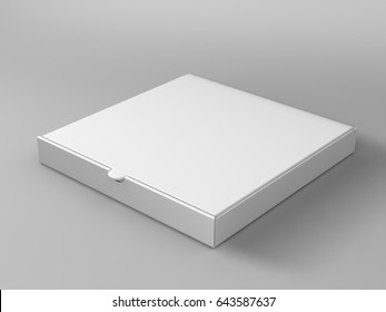 Realistic 3d isometric pizza cardboard box isolated on grey background. 3d render illustration