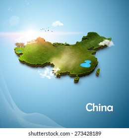Realistic 3D Map of China
