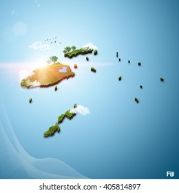 Realistic 3D Map of Fiji