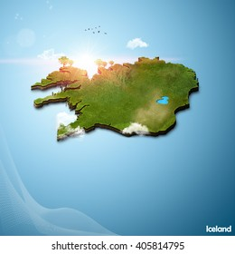 Realistic 3D Map of Iceland