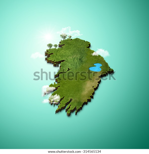 Map Of Ireland 3d.Realistic 3d Map Ireland Stock Illustration 314565134