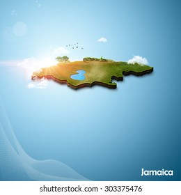 Realistic 3D Map of Jamaica