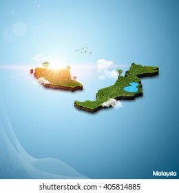 Realistic 3D Map of Malaysia
