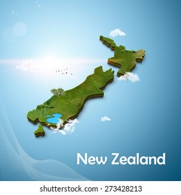 Realistic 3D Map of New Zealand