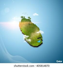 Realistic 3D Map of Qatar