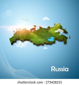 Realistic 3D Map of Russia