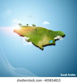 Realistic 3D Map of Saudi Arabia