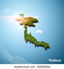 Realistic 3D Map of Thailand
