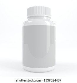 Realistic 3D Mock-up Supplement White Bottle 3D Rendering