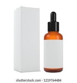 realistic 3d orange cosmetics bottle box mockup 3d rendering