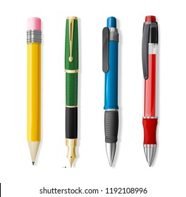 Realistic 3d Pen and Pencil Set Office or School Stationery Accessory Closeup . illustration four of Pens and Pencils