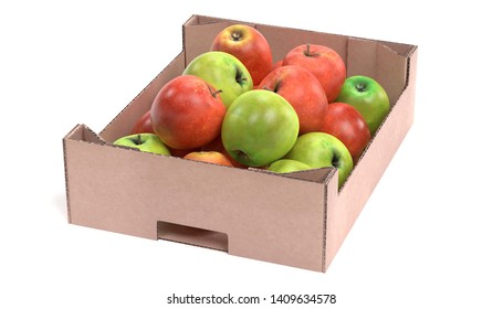 Realistic 3D Render of Apples in Box