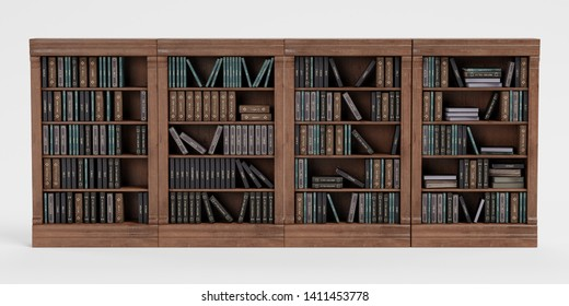 Realistic 3D Render of Bookshelf with Books