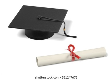 realistic 3d render of graduation set