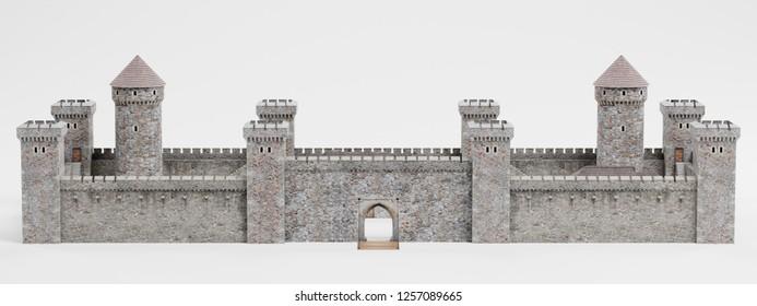 Realistic 3D Render of Medieval Castle
