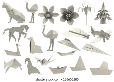 realistic 3d render of origami toys