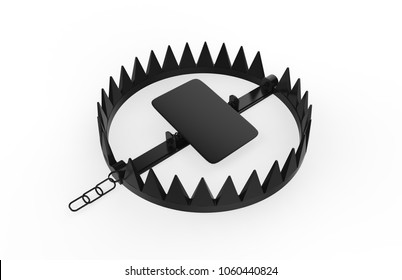 Realistic 3d render of trap isolated on white background, 3d illustration.