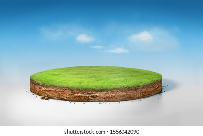 Realistic 3D rendering circle cutaway terrain floor with rock isolated on blue sky, 3D Illustration round soil ground cross section with earth land and green grass