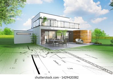 Realistic 3D rendering of a modern house with architect sketch